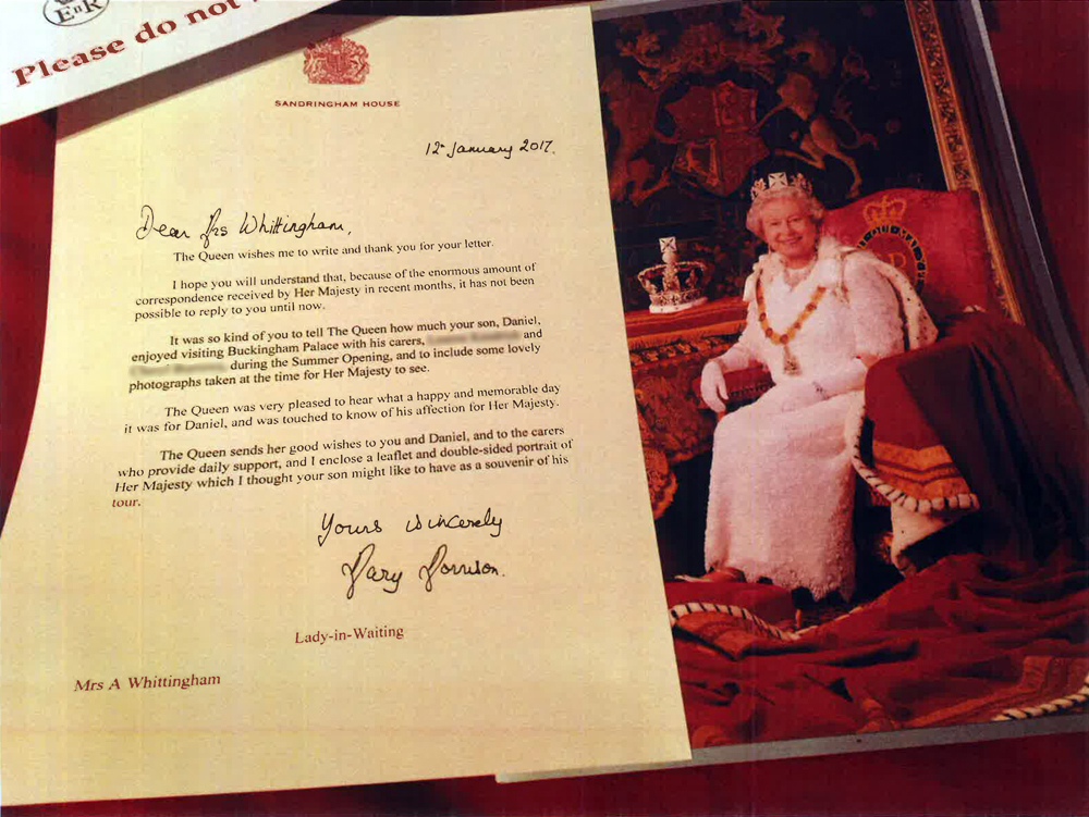 The Whittinghams' letter from The Queen